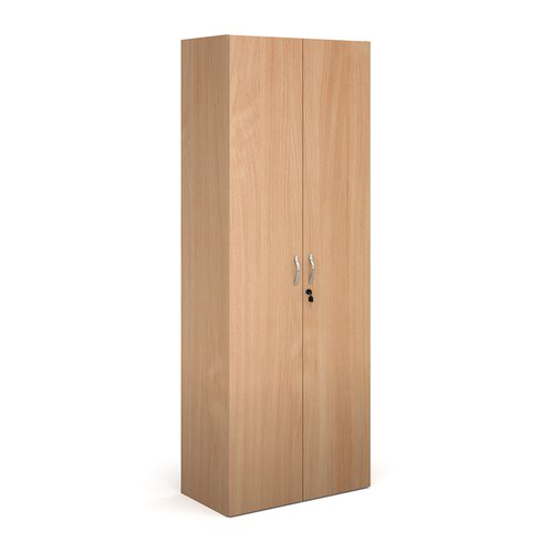 Contract double door cupboard 2030mm high with 4 shelves - beech