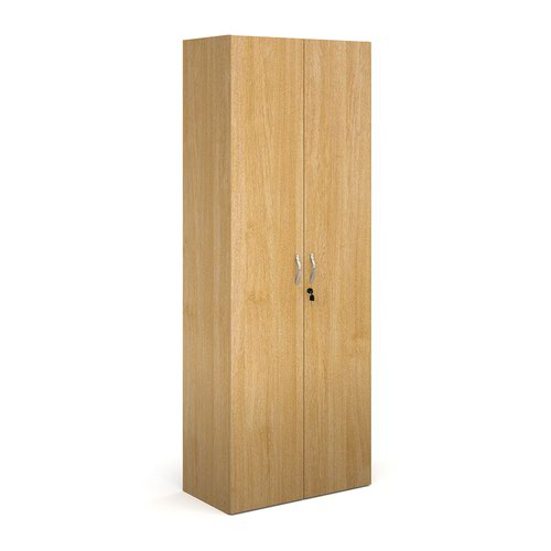 Contract double door cupboard 2030mm high with 4 shelves - oak