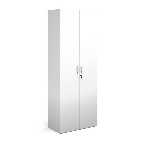 Contract double door cupboard 2030mm high with 4 shelves - white