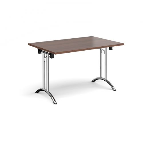 Rectangular folding leg table with chrome legs and curved foot rails 1200mm x 800mm - walnut