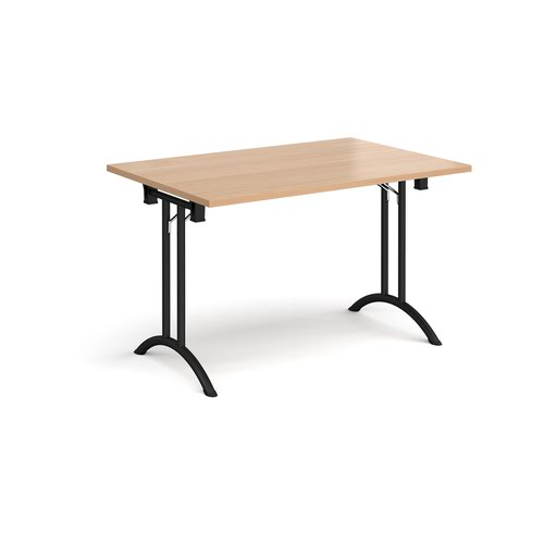 Rectangular folding leg table with black legs and curved foot rails 1200mm x 800mm - beech