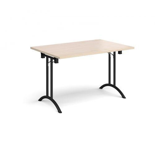 Rectangular folding leg table with black legs and curved foot rails 1200mm x 800mm - maple