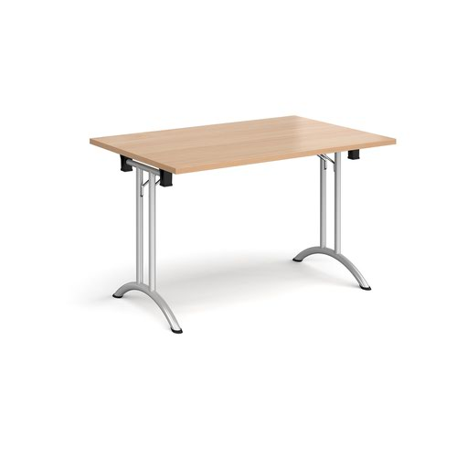 Rectangular folding leg table with silver legs and curved foot rails 1200mm x 800mm - beech