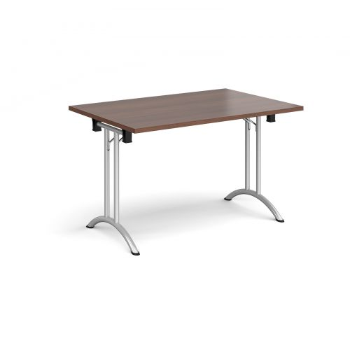 Rectangular folding leg table with silver legs and curved foot rails 1200mm x 800mm - walnut
