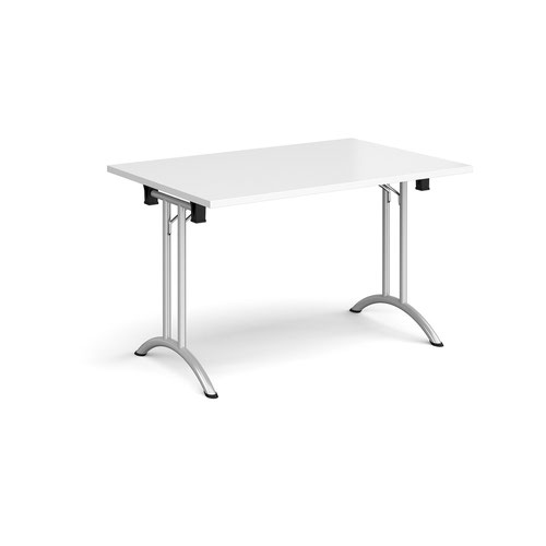 Rectangular folding leg table with silver legs and curved foot rails 1200mm x 800mm - white