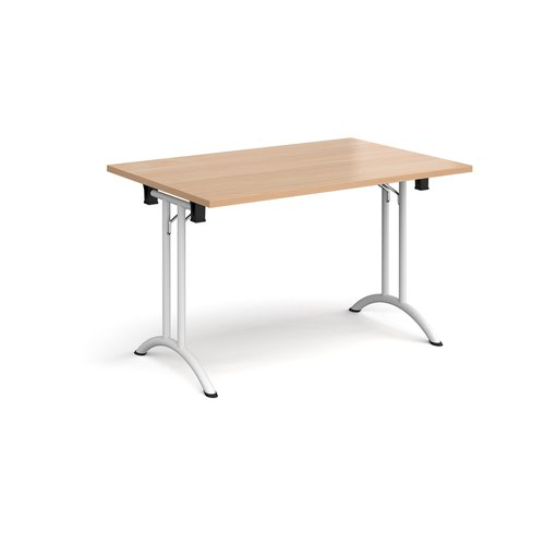 Rectangular folding leg table with white legs and curved foot rails 1200mm x 800mm - beech