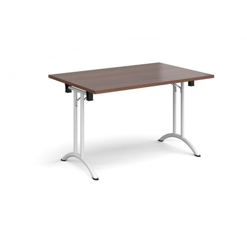 Rectangular folding leg table with white legs and curved foot rails 1200mm x 800mm - walnut