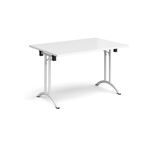 Rectangular folding leg table with white legs and curved foot rails 1200mm x 800mm - white