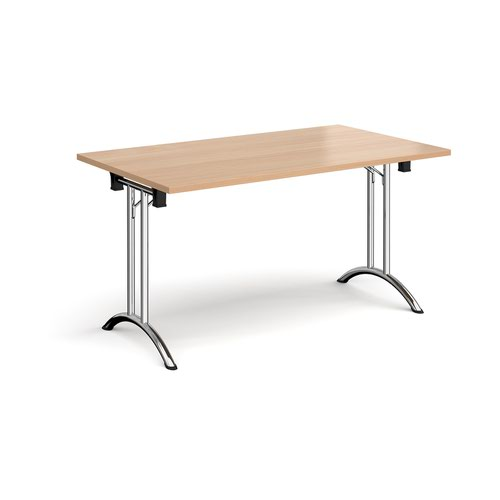 Rectangular folding leg table with chrome legs and curved foot rails 1400mm x 800mm - beech