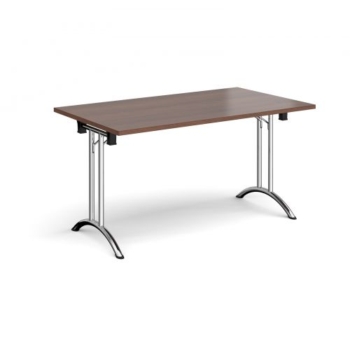 Rectangular folding leg table with chrome legs and curved foot rails 1400mm x 800mm - walnut