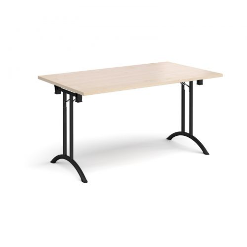 Rectangular folding leg table with black legs and curved foot rails 1400mm x 800mm - maple