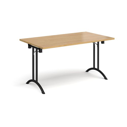 Rectangular folding leg table with black legs and curved foot rails 1400mm x 800mm - oak