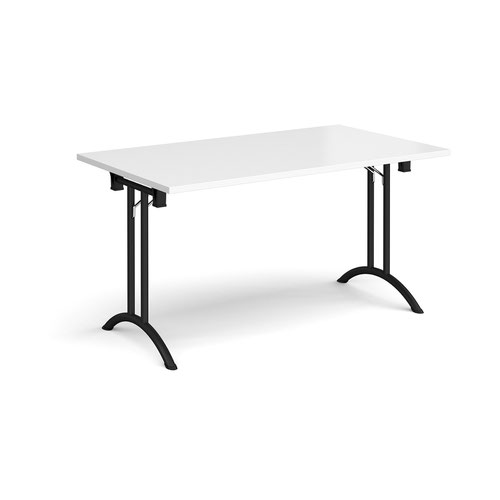 Rectangular folding leg table with black legs and curved foot rails 1400mm x 800mm - white