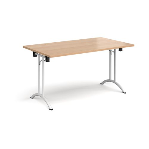 Rectangular folding leg table with white legs and curved foot rails 1400mm x 800mm - beech