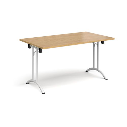 Rectangular folding leg table with white legs and curved foot rails 1400mm x 800mm - oak
