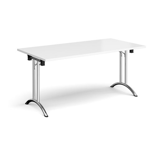 Rectangular folding leg table with chrome legs and curved foot rails 1600mm x 800mm - white