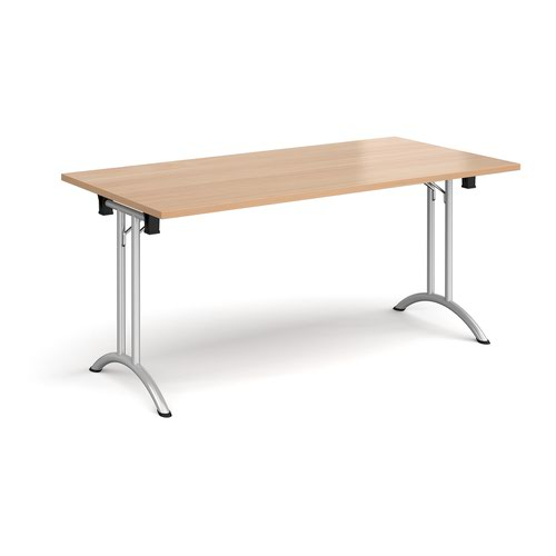 Rectangular folding leg table with silver legs and curved foot rails 1600mm x 800mm - beech