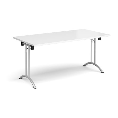 Rectangular folding leg table with silver legs and curved foot rails 1600mm x 800mm - white