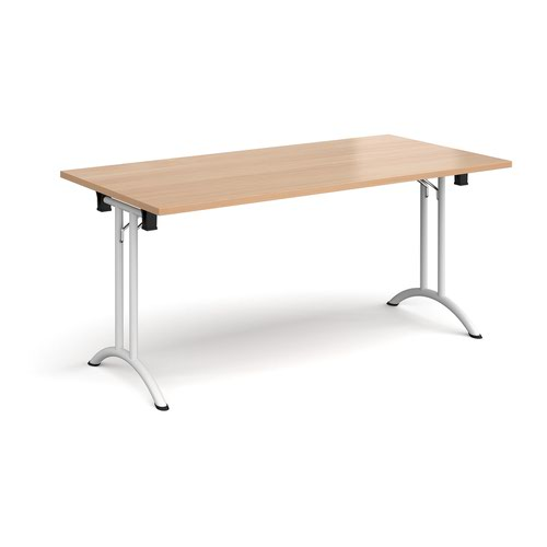 Rectangular folding leg table with white legs and curved foot rails 1600mm x 800mm - beech