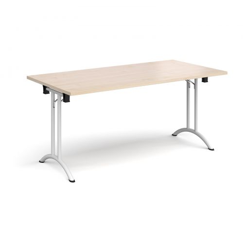 Rectangular folding leg table with white legs and curved foot rails 1600mm x 800mm - maple