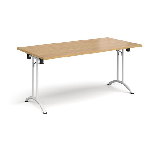 Rectangular folding leg table with white legs and curved foot rails 1600mm x 800mm - oak