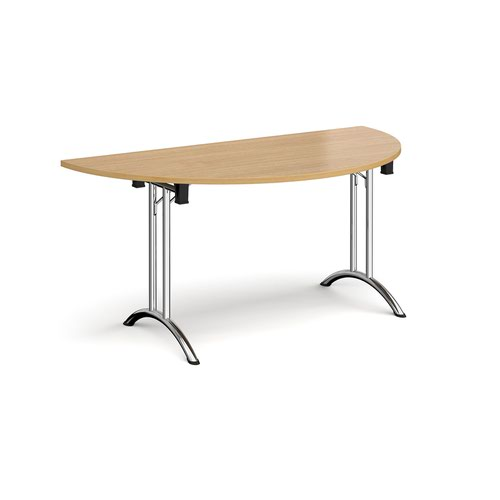 Semi circular folding leg table with chrome legs and curved foot rails 1600mm x 800mm - oak