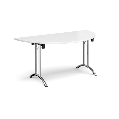 Semi circular folding leg table with chrome legs and curved foot rails 1600mm x 800mm - white