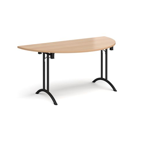 Semi circular folding leg table with black legs and curved foot rails 1600mm x 800mm - beech