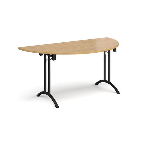 Semi circular folding leg table with black legs and curved foot rails 1600mm x 800mm - oak
