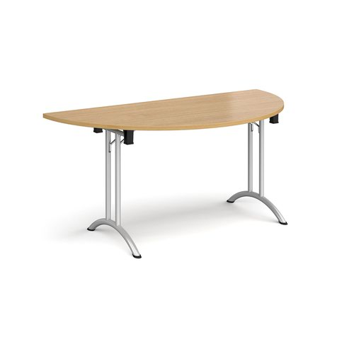 Semi circular folding leg table with silver legs and curved foot rails 1600mm x 800mm - oak