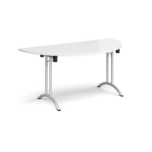 Semi circular folding leg table with silver legs and curved foot rails 1600mm x 800mm - white