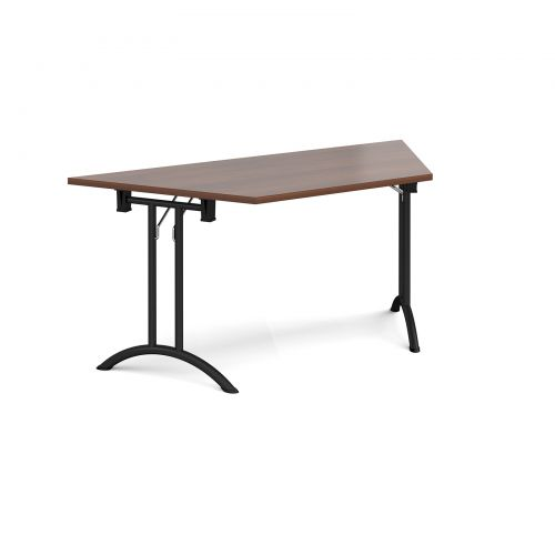 Trapezoidal folding leg table with black legs and curved foot rails 1600mm x 800mm - walnut