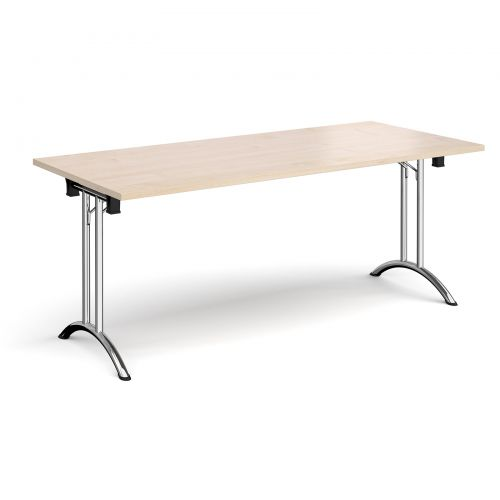 Rectangular folding leg table with chrome legs and curved foot rails 1800mm x 800mm - maple