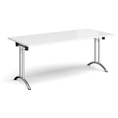 Rectangular folding leg table with chrome legs and curved foot rails 1800mm x 800mm - white