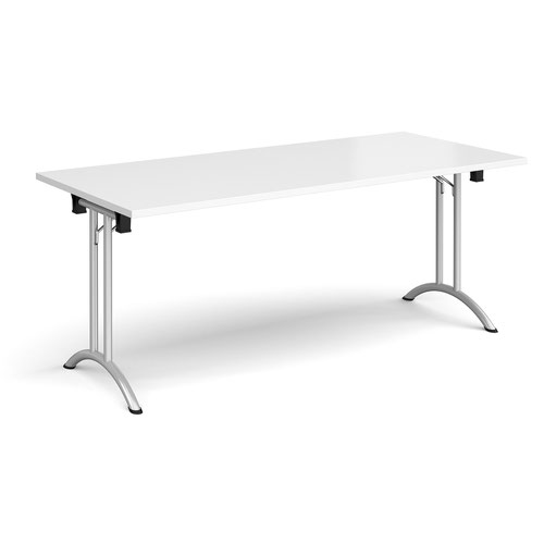 Rectangular folding leg table with silver legs and curved foot rails 1800mm x 800mm - white