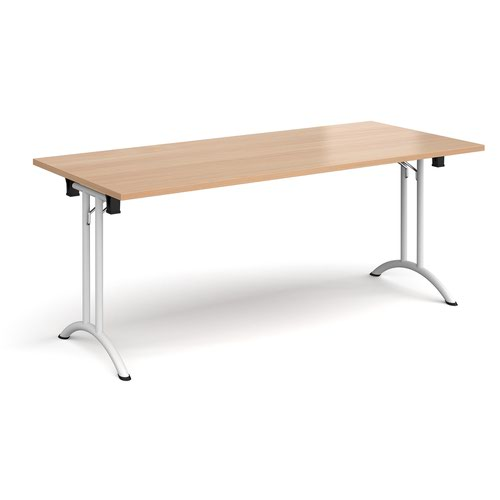 Rectangular folding leg table with white legs and curved foot rails 1800mm x 800mm - beech