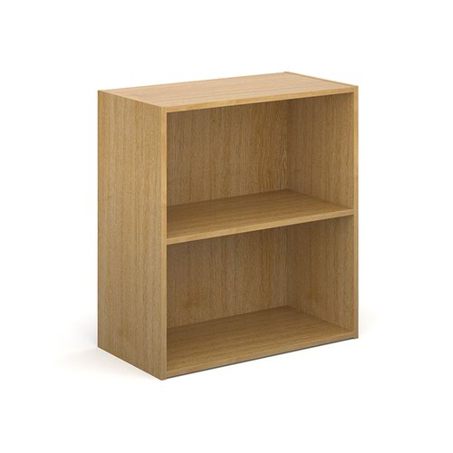 Contract bookcase 830mm high with 1 shelf - oak