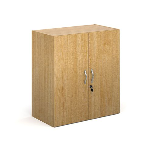 Contract double door cupboard 830mm high with 1 shelf - oak