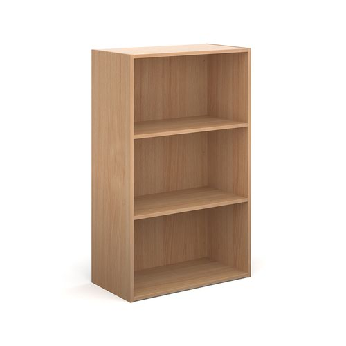 Contract bookcase 1230mm high with 2 shelves - beech