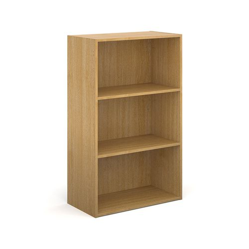 Contract bookcase 1230mm high with 2 shelves - oak