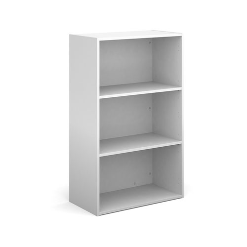 Contract bookcase 1230mm high with 2 shelves - white