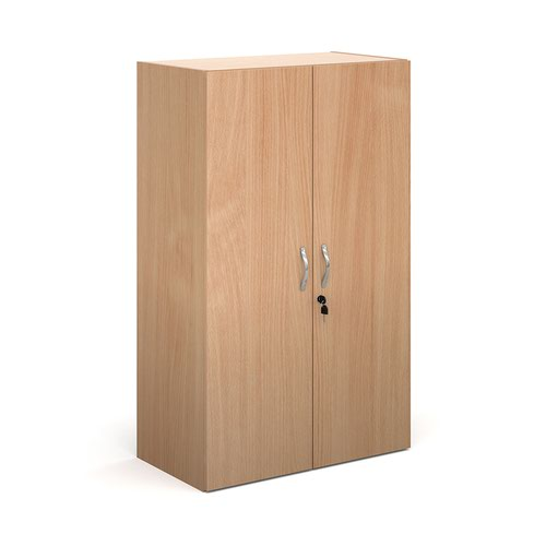 Contract double door cupboard 1230mm high with 2 shelves - beech