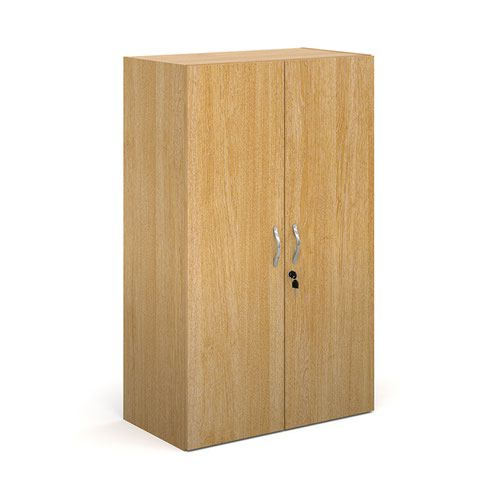 Contract double door cupboard 1230mm high with 2 shelves - oak
