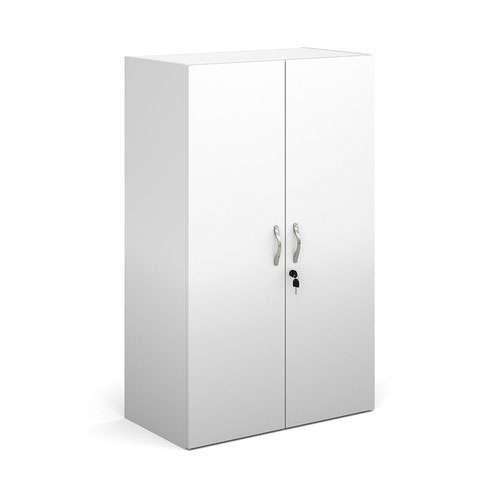 Contract double door cupboard 1230mm high with 2 shelves - white