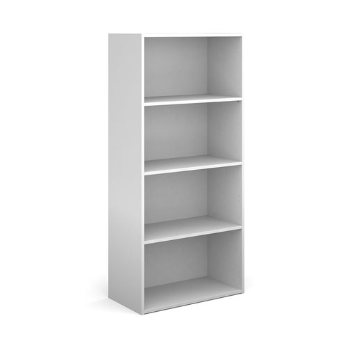 Contract bookcase 1630mm high with 3 shelves - white