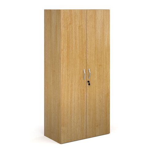 Contract double door cupboard 1630mm high with 3 shelves - oak