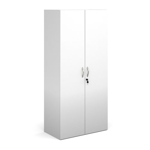 Contract double door cupboard 1630mm high with 3 shelves - white