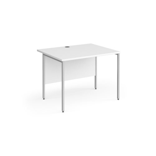 Contract 25 straight desk with silver H-Frame leg 1000mm x 800mm - white top