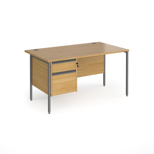 Contract 25 straight desk with 2 drawer pedestal and graphite H-Frame leg 1400mm x 800mm - oak top