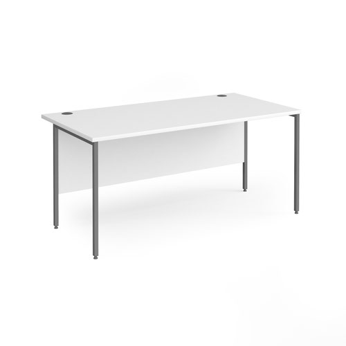 Contract 25 straight desk with graphite H-Frame leg 1600mm x 800mm - white top